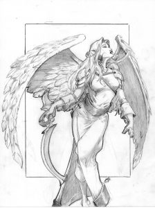 Misha, the Winged Elf (As drawn by her player)